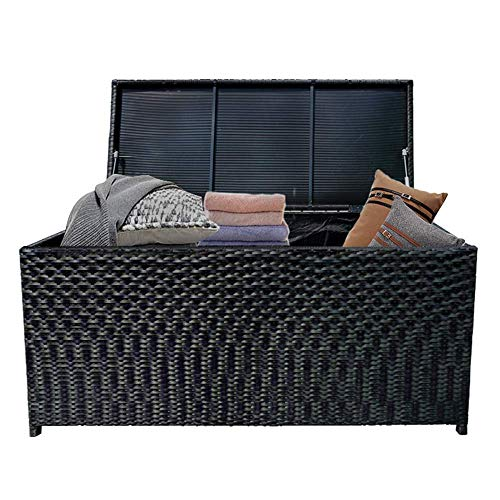 HENGMEI Arcón de jardín de ratán Arcón de Almacenamiento 115 x 55 x 57 cm con capacidad de carga de hasta 150 kg para jardín, terraza, balcón, habitación