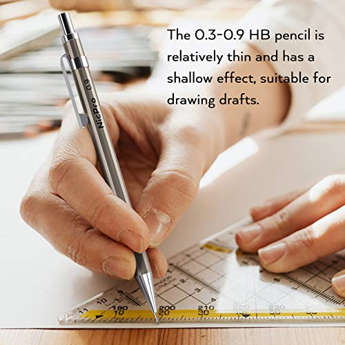 Nicpro 6 PCS Art Mechanical Pencils Set Metal, Artist Drafting Pencil 0.3 & 0.5 & 0.7 & 0.9 mm and 2mm Lead Holder For Art Writing, Sketching Drawing,With 8 Tubes Lead Refills Erasers Sharpener Photo #2