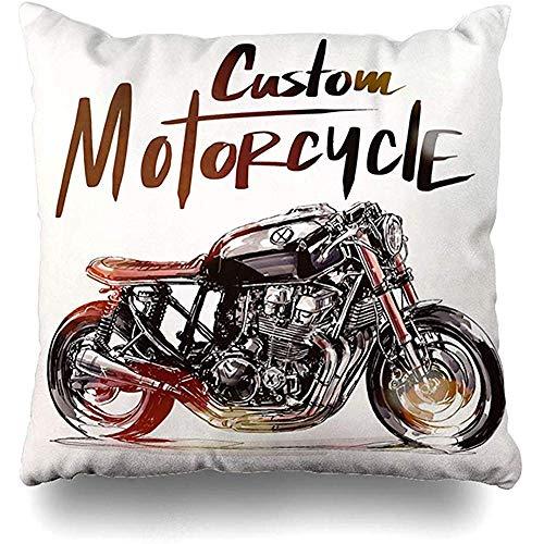 Fodera per cuscino per cuscino Fodera per cuscino Motociclista Motociclista Race Rider Schizzo Distintivo vintage Tovaglia per materasso grande Decorazioni per la casa 45X45 cm (18X18 pollici)