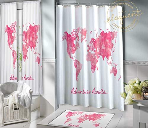 Thomas655 Weltkarte Duschvorhang-Set, Stoff, personalisierbar mit Namen, rosa Wasserfarbe, Badezimmerteppich für Mädchen mit Weltkarte des Abenteuers