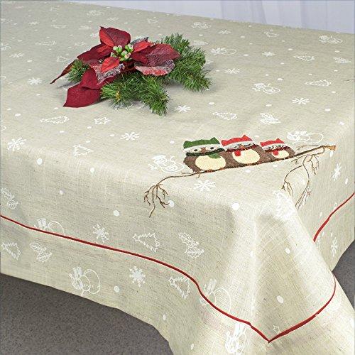 Kamaca Serie Vergnügte - Eulen - Familie Gewebe mit Leinencharakter mit gesticktem Eulenmotiv HINGUCKER in Herbst Winter Weihnachten (Tischdecke 130 cm x 160 cm)