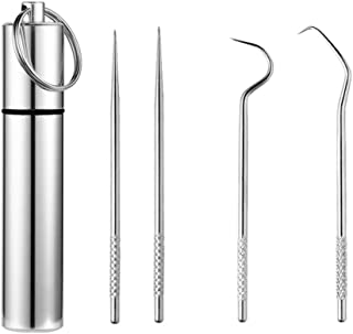Yardwe 3pcs Stainless Steel Toothpick with Holder Pocket Toothpick Reusable Toothpick Portable Toothpick Case Toothpick Ke...