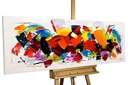 KunstLoft® Acryl Gemälde \'Rush\' 150x50cm   original handgemalte Leinwand Bilder XXL   Abstrakt Bunt Rot Deko   Wandbild Acrylbild Moderne Kunst einteilig mit Rahmen