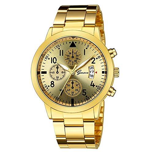Reloj de Hombre Geneva Steel Belt Relojes de Tres Ojos y Seis Agujas con Calendario Reloj de Hombre Casual de Negocios Reloj de Hombre