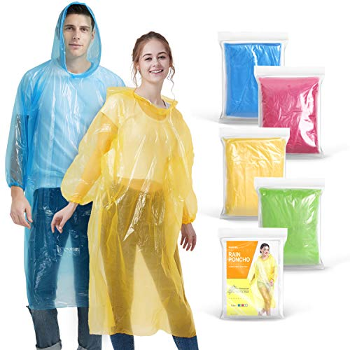 Newbyinn Rain Ponchos for Adults Disposable Ponchos Bulk (5 Packs) Emergency Ponchos with Hood Assorted Colors for Disney Concert Camping Hiking
