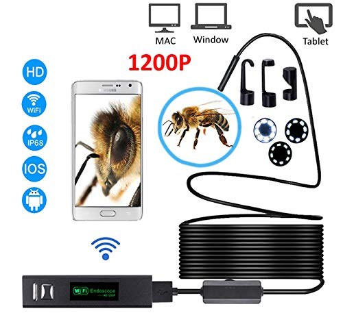 Alician WiFi endoscopio cámara HD 1200 p mini impermeable alambre duro inalámbrico 8mm 8 LED boroscopio cámara para Android PC IOS endoscopio 3.5 m