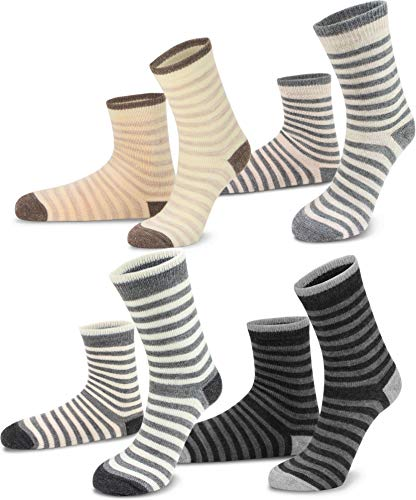 Circle Five 2, 4 oder 6 Paar warme Winter Kindersocken Schafwollsocken mit Alpaka- & Schafwolle für Mädchen & Jungen Farbe 4 Paar Größe 27-30