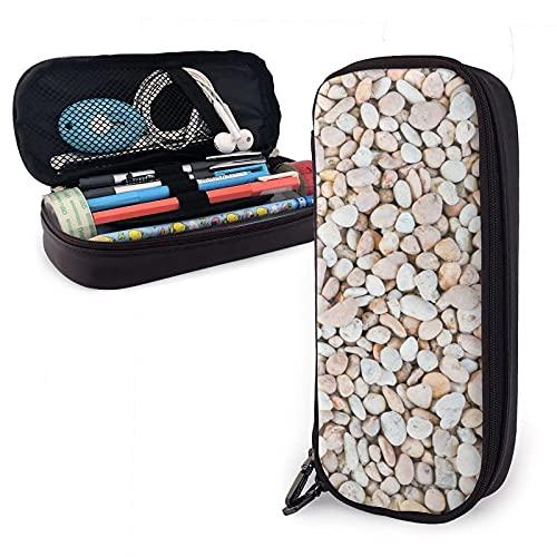 Sea Stones and Cobblestone Estuche para lápices de cuero, gran capacidad, duradero, con cremallera, estuche para lápices, estuche para lápices, almacenamiento, maquillaje, cosméticos