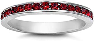 Oxford Diamond Co Simulated Garnet Stackable Eternity Wedding Anniversary Band .925 Sterling Silver Sizes 3-12