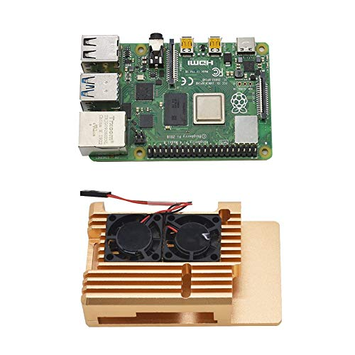 Fransande For Raspberry Pi 4B 4G DIY Kit Support 2.4/5.0 GHz WIFI 5.0 with Aluminum CNC Alloy Protective Case Cooling Fan(Gold)
