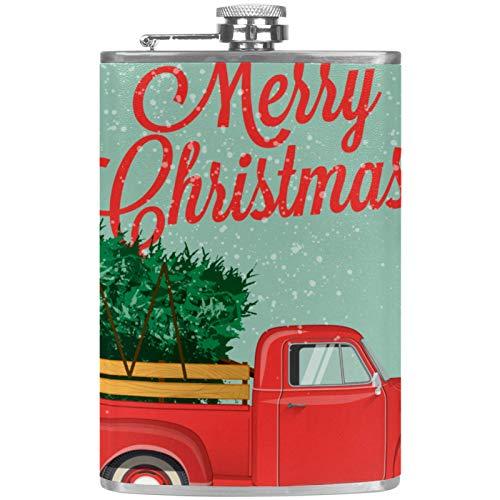 Flachmann aus Edelstahl, tragbar, 237 ml, Flachmann für Likör, Whiskey, Wein, Flagon, Tasse mit Trichter, grünes, rotes Auto, Weihnachtsbaum