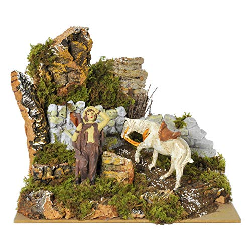 Rossi - Fuente eléctrica con caballo y pastor, 24 x 22 x...