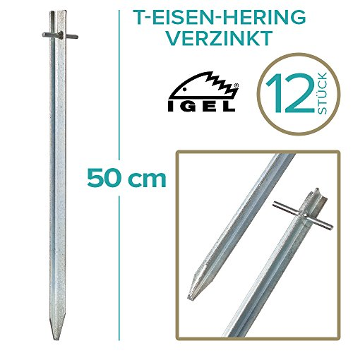 IGEL T-Eisen-Hering 50cm verzinkt 4/12 / 25 / 50er Sets … (12 Stück)