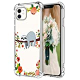 Hepix iPhone 11 Case Sloth iPhone 11 Clear Cases, Funny Cute Sloth Hanging on Tree Pattern Protective Slim Flexible TPU iPhone 11 Cover with Reinforced Bumpers Anti-Scratch for iPhone 11 (2019) 6.1'