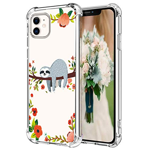 Hepix Sloth iPhone 11 Case iPhone 11 Clear Case, Funny Cute Sloth Hanging on Tree Pattern Protective Slim Flexible TPU iPhone 11 Cover with Reinforced Bumpers Anti-Scratch for iPhone 11 (2019) 6.1'