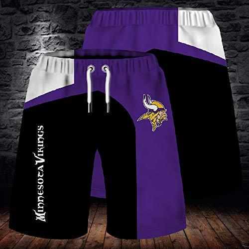 NFL Sommer Herren Shorts, Minnesota Viking Strandhose, 3D gefärbte und gefärbte atmungsaktive Stretch Trainingshose für Outdoor Training und Laufen