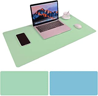 Large Desk Pad Mouse Pad, Aisakoc 35.4''x15.75'' Non-Slip PU Leather Desk Mouse Pad Waterproof, Dual-Side Use Desk Gaming Writing Mat for Office Home (Mint Green and Sky Blue)
