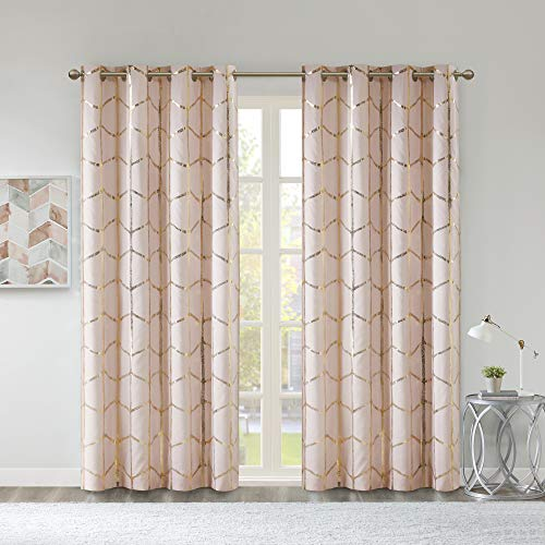 Intelligent Design Raina Total Blackout Metallic Print Grommet Top Window Curtain Panel Thermal Insulated Light Blocking Drape for Bedroom Living Room and Dorm, 50x84, Blush/Gold