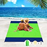Apfity Beach Blanket Sandproof, 83''×79'' Waterproof Beach Blankets, Lightweight Picnic Beach Mat for 4-7 Adults, Sand Free Blanket for Outdoor Travel, Camping, Hiking Green Blue