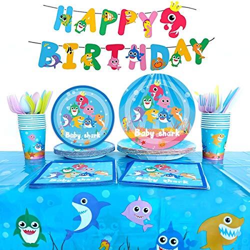 Heboland Shark Party Supplies Set, Baby Hai Supplies Set Geschirr Teller Pappbecher, Tischdecke, Banner für Kinder Geburtstag Baby Shower Dekorationen - Für 16 Gäste (114Stück)