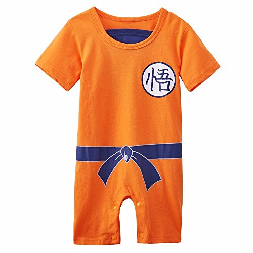 Vêtement Bébé Super Héro DBZ| Body Pyjama enfant | Déguisement Goku | Costume original et rigolo | 100% Coton (12-18 mois)
