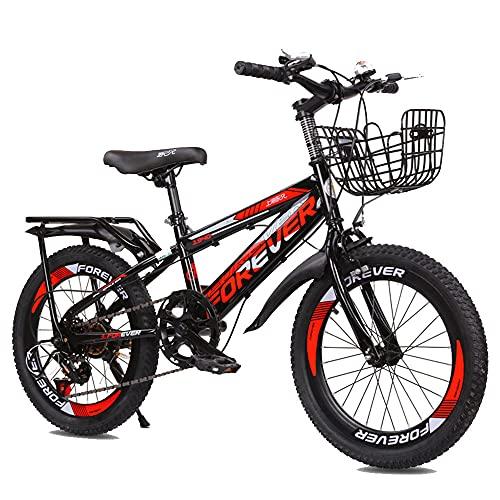 Axdwfd Infantiles Bicicletas Bicicleta De Montaña De 18 O 20 Pulgadas, Engranajes De 21 Velocidades, Suspensión Delantera, Bicicleta para Niños, 3 Colores(Size:20in,Color:Rojo)