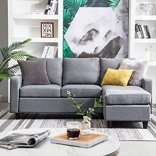 HONBAY Reversible Sectional Sofa Couch 3-seat Couch Sofa Sectional L Shape Couch for Small Apartment Grey
