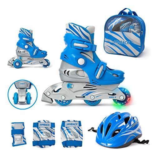 JAMBACH Kinder Inliner Inline Skates für Anfänger verstellbar Set Triskates mit Schutzset Helm Rucksack Rollschuhe Mädchen Jungen (XS (26-29), blau)