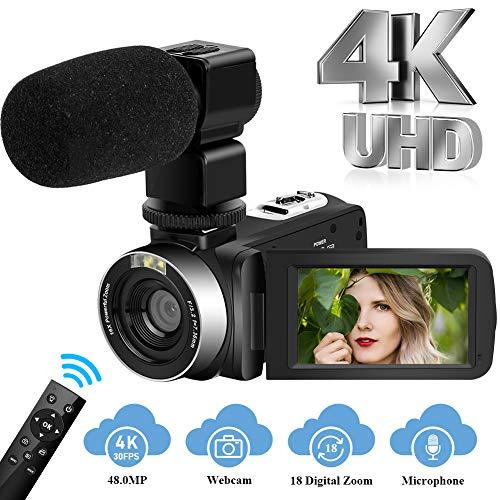 Camcorder Videokamera Ultra HD 4K Camcorder mit Mikrofon, 48MP Vlogging Kamera mit 3,0 Zoll Touchscreen Videokamera mit 2,4G Fernbedienung
