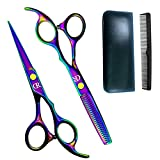 Professional Hair Cutting Shears Set,6 Inch Barber hair Cutting Scissors Thinning Shears Sharp Blades Hairdresser Haircut For Women/Men/kids 420c Stainless Steel Rainbow Color (C)