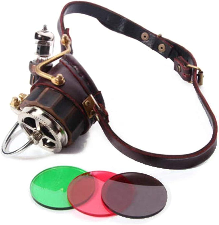 sin mínimo WEATLY WEATLY WEATLY Steampunk Victorian Court Gothic Goggle One Side con 3 Lentes de Color y 2 Luces LED de Color (Color   marrón)  Sin impuestos