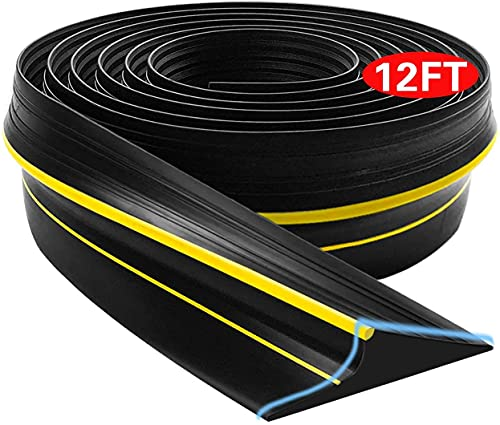 Universal Garage Door Bottom Seal Strip,Weatherproof Rubber DIY Weather Stripping Replacement, 12FT Length, Black