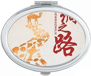 Poster Camel Desert Journey Silk Road Map Mirror Portable Fold Hand Makeup Double Side Glasses