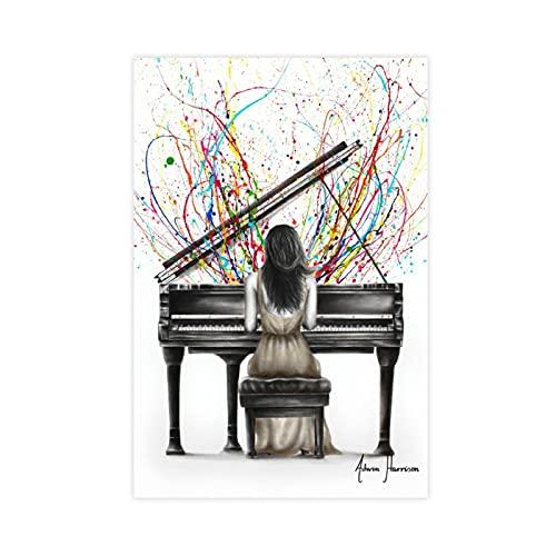 UYHF Póster colorido de piano de cola en solitario, para de