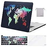 MOSISO Custodia MacBook PRO 16 Pollici Case 2020 2019 A2141 con Touch Bar&Touch ID,Cover&Tastiera Cover&Proteggi Schermo&Stoccaggio Borse Compatibile con MacBook PRO 16, Mappa Black Base