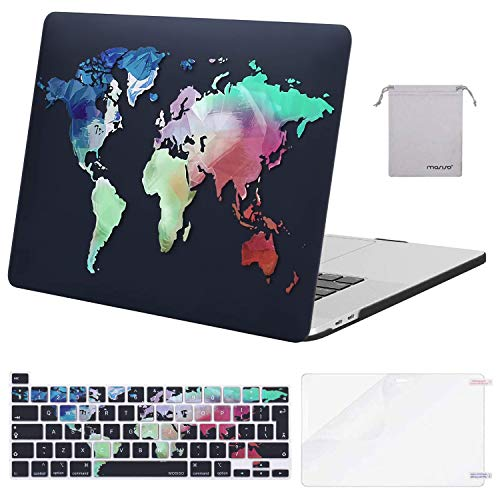 MOSISO MacBook Pro 16 inch Case 2020 2019 Release A2141 with Touch Bar&Touch ID, Plastic Hard Shell Case&Keyboard Cover&Screen Protector&Storage Bag Compatible with MacBook Pro 16,World Map Black Base