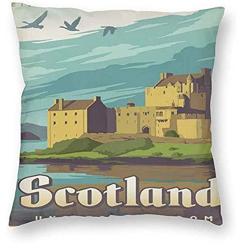 Bella-shop Kissenbezug quadratisches Kissen UN Schottland Donan Castle Kissenbezüge Kissenbezug 1 Packung