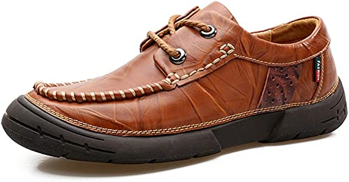 Xuyaowzr Chaussures en Cuir Vintage Chaussures à Semelle Souple pour pour Hommes,Lightmarron,41  haute qualité