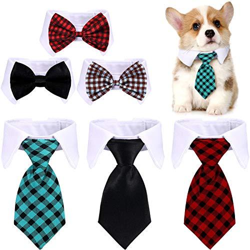 6 Pieces Adjustable Pet Bow Tie Plaid...
