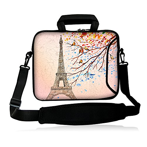 iColor 15' Laptop Bag Case 14' 14.1' 14.2' 15.4' 15.6' Inch Laptop Notebook Computer Dual Zipped Shoulder Messenger Bag Cover Pouch Holder Pocket -Eiffel Tower