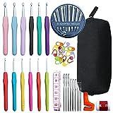 Juego de 70 ganchos de ganchillo ergonómicos + kit de bolsa para tejer aguja de coser, para principiantes, adultos, mujeres y niñas