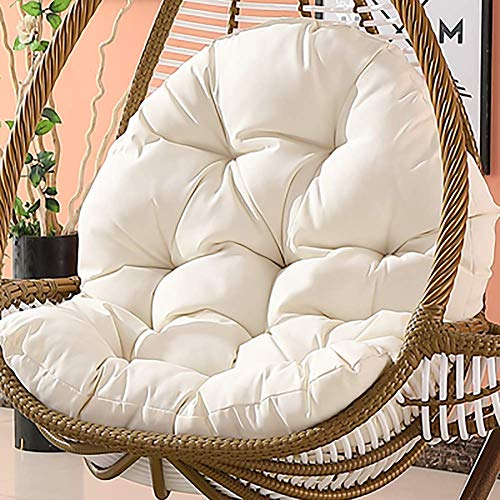 MSM Waterproof Hanging Cushion, Swing Chair Wicker Hammock Weave Egg Pad, Balcony Patio Garden-Neither Stand Nor Chair are Include-White 120x86cm(47x34inch)