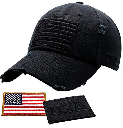 Antourage American Flag Hat for Men and Women | Vintage Baseball Tactical Hat Cap with USA Flag + 2 Patriotic Patches ((11) Black)