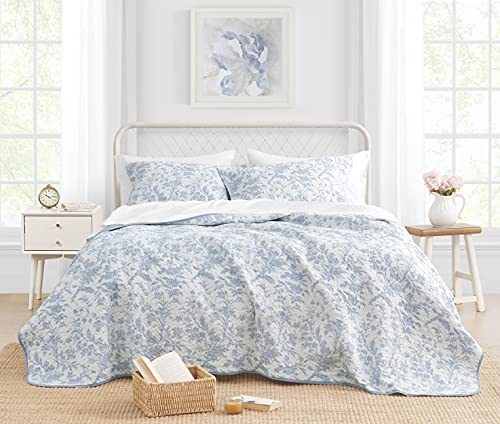 Laura Ashley Home Amberley Soft Chic Quilt Set-100% Cotton, Breathable & Lightweight, Reversible Bedding, Pre-Washed for Added Softness, King, Spa Blue