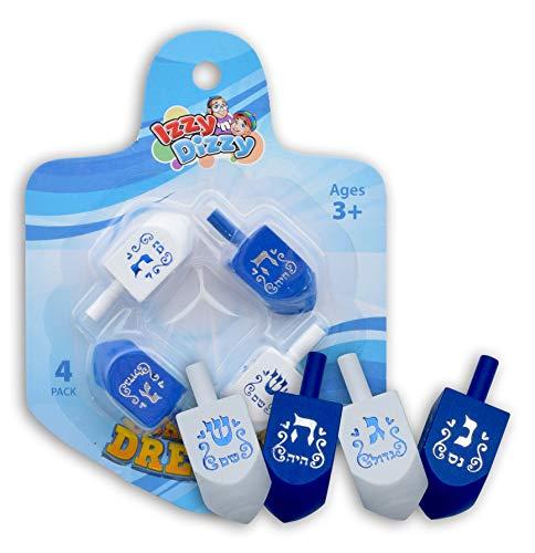 Izzy 'n' Dizzy Hanukkah Dreidels - Blue and White Wooden Dreidel - 4 Pack Medium - Hand Painted - Game Instructions Included