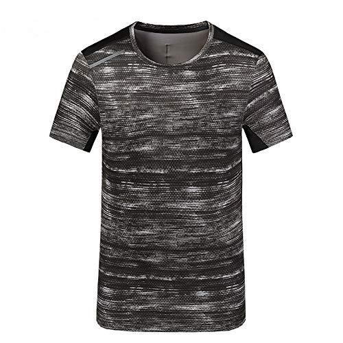JINSHI Herren Sport T- Shirt Fitness Camouflage Shirt Outdoor Passform Tarnung-Grau M
