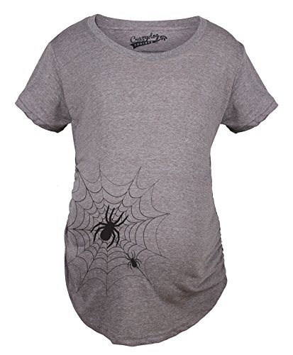 Crazy Dog Tshirts - Maternity Spider Web Funny Halloween Announce Pregnancy Tee Baby Bump T Shirt (Dark Heather Grey) - XXL - Femme