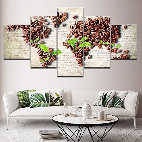Koffiebonen Posters Wall Art 5 Stuks HD Print Foto's Koffie Voedsel Canvas Schilderij Cafe Keuken & Restaurant Woondecoratie -30x40 30x60 30x80cm (geen frame)