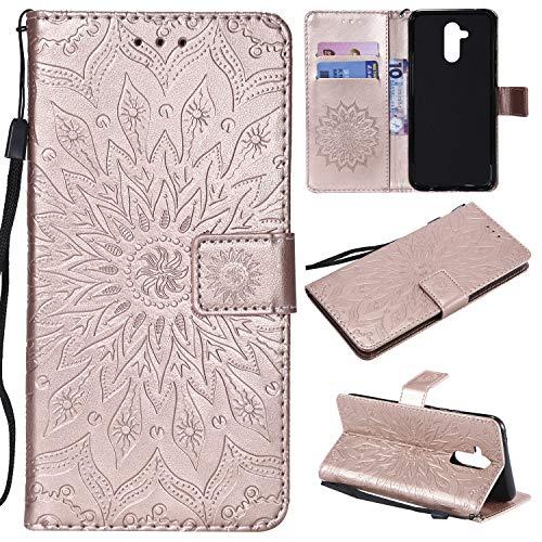 Artfeel Leder Brieftasche Hülle für Huawei Mate 20 Lite mit Handschlaufe, Huawei Mate 20 Lite Flip Magnetverschluss Roségold Handyhülle Geprägt Sonnenblume Muster mit Kartenfächer Stand Schutzhülle