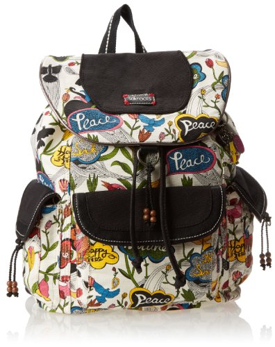 Sakroots Women's Flap Backpack, White Peace